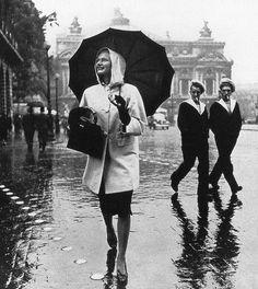 Model in raincoat by Schiaparelli, photo by Jean Moral, Paris, Harper's Bazaar, October 1939