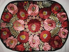 Superb Matyo Hand Embroidered Pink & Burgundy Floral Pillow or from victoriandreams on Ruby Lane Russian Embroidery, Rose Embroidery, Embroidery Stitches, Embroidery Patterns, Thread Painting, Ethnic Patterns, Floral Pillows, Chain Stitch, Hobbies And Crafts