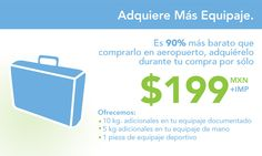 Adquiere el servicio Más Equipaje por $199 MXN a través de www.volaris.com