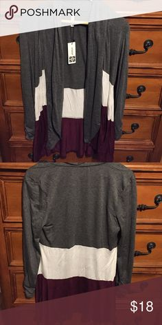 Striped Long Cardigan Grey, white, burgundy striped long sleeve cardigan. Very soft. Brand new and unsold from our now closed online boutique. Sweaters Cardigans