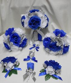 Wedding Silk Flower Bridal Bouquet Package Royal Blue White Silver Bride BridesmaidsToss Bouquets Boutonnieres Corsages in 2019 Blue Wedding Flowers, Blue Wedding Dresses, Bridal Flowers, Silk Flowers, Royal Blue Wedding Decorations, Royal Blue Wedding Cakes, Wedding Themes, Wedding Colors, Wedding Ideas