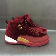 New Women Air Jordan 12 Velvet Wine Red Gold Shoes - Click Image to Close