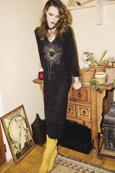 1980's Black and Metallic Silver Knit dress With Beaded Hand painted Flower