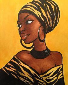 Billedresultat for african drawings Black Girl Art, Black Women Art, Art Girl, African Beauty, African Women, Afrika Tattoos, African Art Paintings, African Drawings, Afrique Art