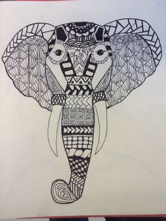 Zentangle. Principle of Rhythm. Each student chose an interesting silhouette and completed 9 different tangles within it.   Completed in black marker.