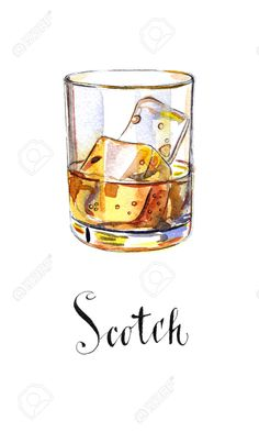 58627039-Glass-of-scotch-whiskey-brandy-with-ice-cubes-hand-drawn-watercolor-Illustration-Stock-Illustration.jpg (780×1300)
