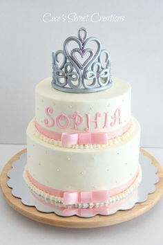 2 tier Buttercream Princess Baby Shower cake. Tiara was freestyle and made from MMF and Gum paste.
