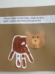 Brown bear handprint art, can do all characters in story Toddler Art, Toddler Crafts, Crafts For Kids, Preschool Colors, Preschool Crafts, Daycare Crafts, Art Activities, Toddler Activities, Teddy Bear Crafts