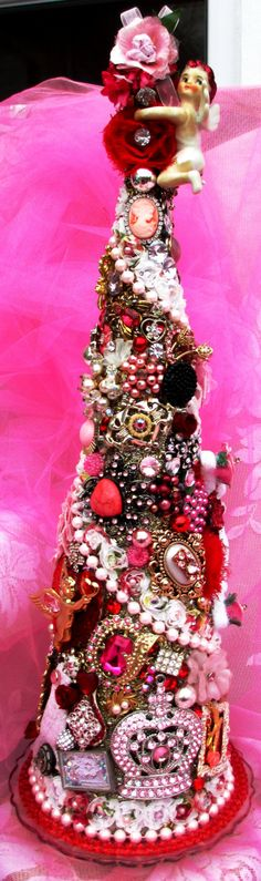 Large Vintage Rhinestone Jewelry Tree So by FleaBittenSisters, $95.00