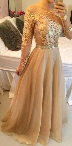 Long sleeve prom dress, gold prom dresses, lace prom dresses, cheap prom dresses, sexy prom dress from prom dress Gold Prom Dresses, Prom Dresses 2015, Prom Dresses Long With Sleeves, A Line Prom Dresses, Cheap Prom Dresses, Formal Dresses, Dress Prom, Dress Lace, Lace Dresses