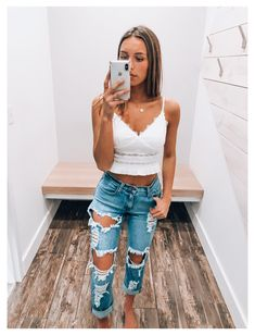 Trendy Summer Outfits, Cute Comfy Outfits, Basic Outfits, Cute Casual Outfits, Stylish Outfits, Cute Vacation Outfits, Cute Jean Outfits, Outfit Ideas Summer, Fair Outfit Ideas