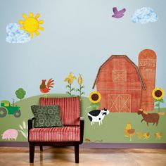 Farm Wall Stickers  Decals for Kids Room and Baby Nursery Farm Theme Wall Mural  - FREE SHIPPING (USA). $166.99, via Etsy.