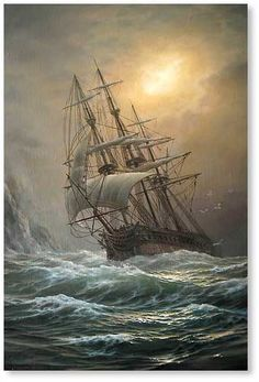 Vlaschenko Valentine (Ukrainian/Russian: Ship in a storm canvas, oil 2010 Ship Paintings, Seascape Paintings, Bateau Pirate, Old Sailing Ships, Ghost Ship, Stormy Sea, Nautical Art, Ship Art, Tall Ships