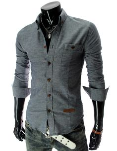 Slim Fit Long Sleeve Leather Patched Shirt