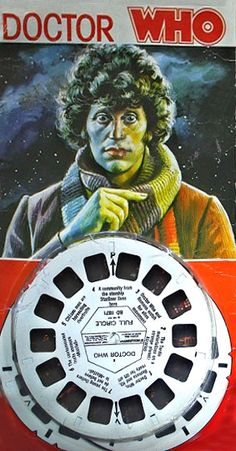 Doctor Who Viewmaster discs from 1970s Britain, featuring the painted image of Tom Baker as the fourth Doctor.  So cool!