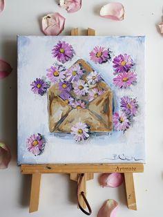 Small Canvas Paintings, Small Canvas Art, Cute Paintings, Mini Canvas Art, Acrylic Painting Canvas, Acrilic Paintings, Painting Flowers, Daisy Painting, Purple Daisy