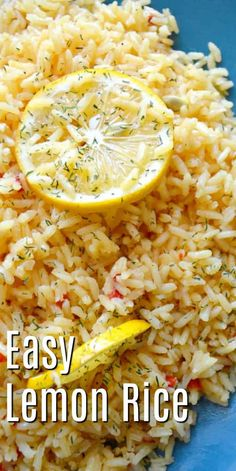 Easy Lemon Rice - Rice recipes make a great side dish! make this lemon rice with simple ingredients right from your pantry and fridge! Easy dinner ideas - Serve this flavorful rice recipe with chicken, or fish and veggies! for dinner for two easy White Rice Recipes, Easy Rice Recipes, Rice Recipes For Dinner, Side Dish Recipes, Recipes With Lemon, Veggie Recipes Sides, Jasmine Rice Recipes, Dessert Recipes, Snacks Recipes