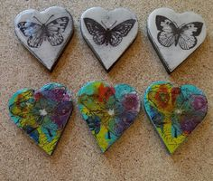 Embossed wall heart art/ magnets/ brooches