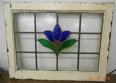 "LARGE OLD ENGLISH LEADED STAINED GLASS WINDOW Pretty Blue Flower 27.5"" x 21"""