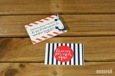 Tarjetas de agradecimiento para bodas con motivos marineros