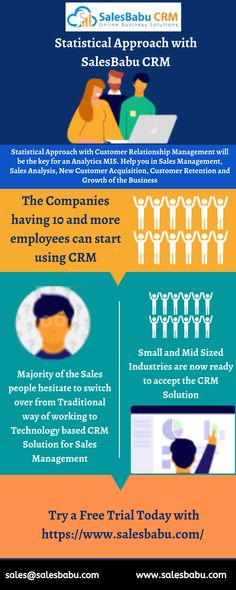 Statistical Approach with Customer Relationship Management will be the key for an Analytics MIS. Help you in Sales Management, Sales Analysis, New Customer Acquisition, Customer Retention and Growth of the Business The Companies having 10 and more employees can start using CRM Majority of the Sales people hesitate to switch over from Traditional way of working to Technology based CRM Solution for Sales Management Small and Mid Sized Industries are now ready to accept the CRM Solution Sales Management, Business Management, Start Up Business, Online Business, Content Marketing, Affiliate Marketing, Microsoft Advertising, Small Business Solutions, Customer Relationship Management