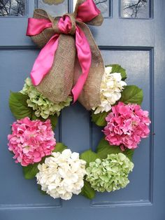 Hydrangea Spring Wreath - Pink Green and Off-White. $80.00, via Etsy. This sucker is $80!! I think we could make this for $20 with Hob Lob 40% off coupons!!