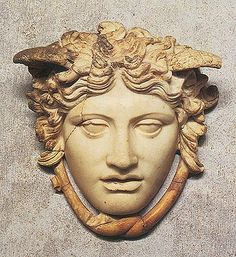 The Rondanini Medusa. Here she is shown as beautiful, not (as was normal in classical works of art) ugly. She is thought to be a copy of the Gorgon on the shield of Phidias' gold and ivory statue of Athena. Ca.438 B.C.  Muenchen, Staatliche Antikensammlungen und Glyptothek GL 252.  © Staatliche Antikensammlungen und Glyptothek, Muenchen.