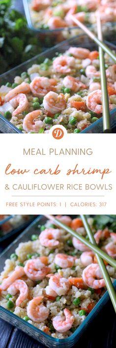 Low Carb Shrimp Cauliflower Rice Meal Prep Bowls