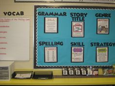 Focus Wall! Includes vocabulary, grammar, title, genre, spelling, skill and strategy! Looove this idea to put everything in perspective for students.