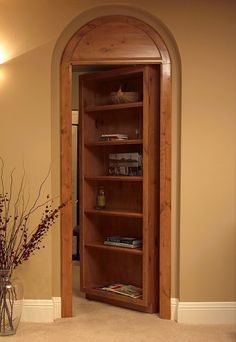 Custom hidden bookcase door to access Utility room, perfect for the finished basement! Inside utility room, place antique door over shelves for cabinet storage. House Design, New Homes, Bookshelves Built In, Basement Remodeling, Remodel, House, Bookcase Door, Hidden Rooms, Secret Rooms