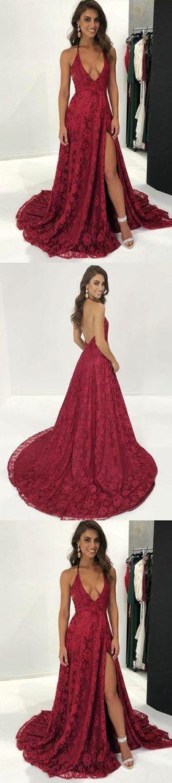 A-Line Deep V-Neck Sweep Train Dark Red Split Sleeveless Lace Backless Prom Dress M2462