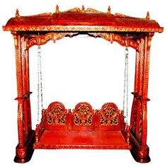 Vintage Royal Indoor Wooden Swing Antique Indian King Maharaja Style India Swing