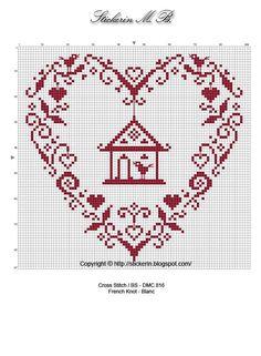 monochrome bird heart  point de croix (embroidery/cross stitch)