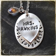 Teach, Love, Inspire Necklace Teacher Gift, Gift For teacher, Christmas Gift, Teacher Necklace by rubiesandwhimsy