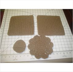 3 Crocheted Dish Cloths and Scrubber - Cafe Latte