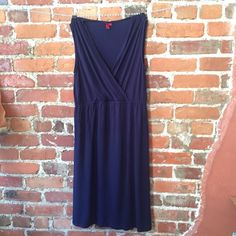 """Merona Sz L navy wrap style front dress Brand: Merona Type: sleeveless dress Size: L Fabric: 95% rayon 5%spandex Condition: Excellent used condition! Color: Navy blue Measurements: Bust – 17"""" across the front, lying flat. Fabric has stretch! Waist - 15"""" stretches approx. 18"""" Length - 41"""" from shoulder to hem. ⬆️Measurements & info⬆️ ✅ YES - Offers, bundles, questions ✅  NO - Trades, holds, PP  ⭐️ All items are authentic ⭐️ 20% off bundles Merona Dresses"""