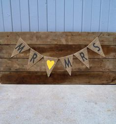 Mr. & Mrs. Wedding Burlap Banner / Yellow and Grey Wedding / Wedding Garland / Wedding Sign. $22.00, via Etsy.