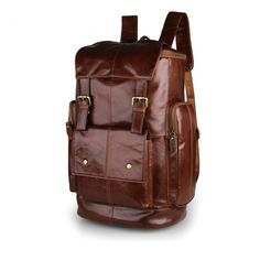 "Image of Big Volume Backpack Top Grade Cowhide Leather Travel Bag School Bag 15"" Laptop Bag--FREE SHIPPING"