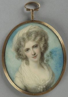 Maria Fitzherbert, circa 1790 by Richard Cosway. She was the companion, and secretly (and illicitly) the wife of the Prince Regent. He repudiated her (with conflicted feelings) when he married Caroline of Brunswick, upon which occasion his debts of John Smith, Miniature Portraits, Miniature Paintings, Uk History, Second Wife, Regency Era, Art Nouveau, Gothic, Portrait Art