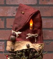 Burlap Santa Hat with Timer Battery Taper Candle