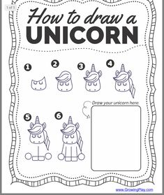 How to Draw a Unicorn - this FREE printable offers 6 step by step directions and practice page to print to learn how to draw a super cute unicorn! crafts unicorn How to Draw a Unicorn - Free Printable - Growing Play Drawing For Kids, Art For Kids, Crafts For Kids, Learn Drawing, Drawing Ideas, Learning To Draw For Kids, Drawing Step, Drawing Tutorials, Drawing Art