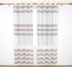 Deconovo Curtains Sheer Curtains 84 Inches Long Sheer Curtains For Bedroom Chenille Design Volie Curtains W52 x L84 Inch Brown One Pair