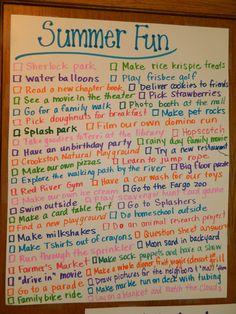 Summer Fun list @Sarah Chintomby Chintomby Corbin