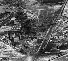 Aerial view of the Denver Union Stockyards in Denver, Colorado. Cattle pens, the National Western Stock Show exhibition buildings, the Coliseum, and slaughter houses are nearby. between 1931 and 1935