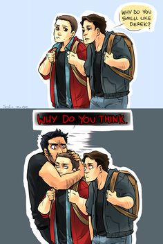 Stiles/Derek // An oldie but a goodie. Ah, the scent marking trope.