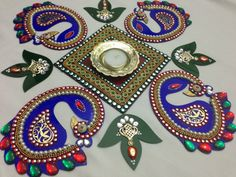 "Indian festival of Lights ""Diwali"" people used to creat designs known as ""Rangoli"" - Peacock Diwali Rangoli / 10 Piece Diwali Rangoli by PalavCreations"