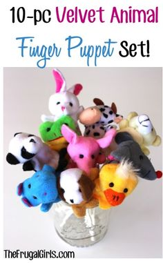 10pc Velvet Animal Finger Puppets Set: 2.88 + FREE shipping! {these make sweet little gifts, or place them on a lollipop stick and pass out as birthday party favors!} #finger #puppets