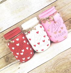Set of 3 Hand Painted and Distressed Mason Jars Mothers Day