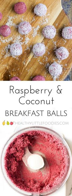 Raspberry Coconut Breakfast Balls. No refined sugar, sweetened only with fruit. A great hand held breakfast for BLW (baby-led weaning), kids or adults! #blw #babyledweaning #kidsbreakfast via @hlittlefoodies