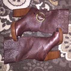 """These are sold! Dark cognac colored leather boots with open toe and dark wooden platform. Gorgeous!! Like new condition. Shaft measures 11.5"""" from arch. Heel measures 4 1/4"""". Platform measures 1"""". Boot opening measures 14"""". I bought these on Posh hoping I could pull off a 6.5. I wear a 5.5-6 and these are too big. I love them and hate to see them go. I never got a chance to wear them. Trying to make my money back for what I paid on here. NO TRADES Lucky Brand Shoes Platforms"""